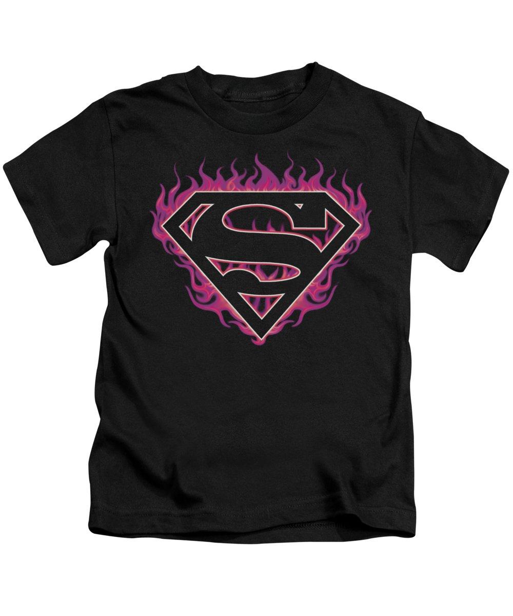 Superman Kids T-Shirt featuring the digital art Superman - Fuchsia Flames by Brand A