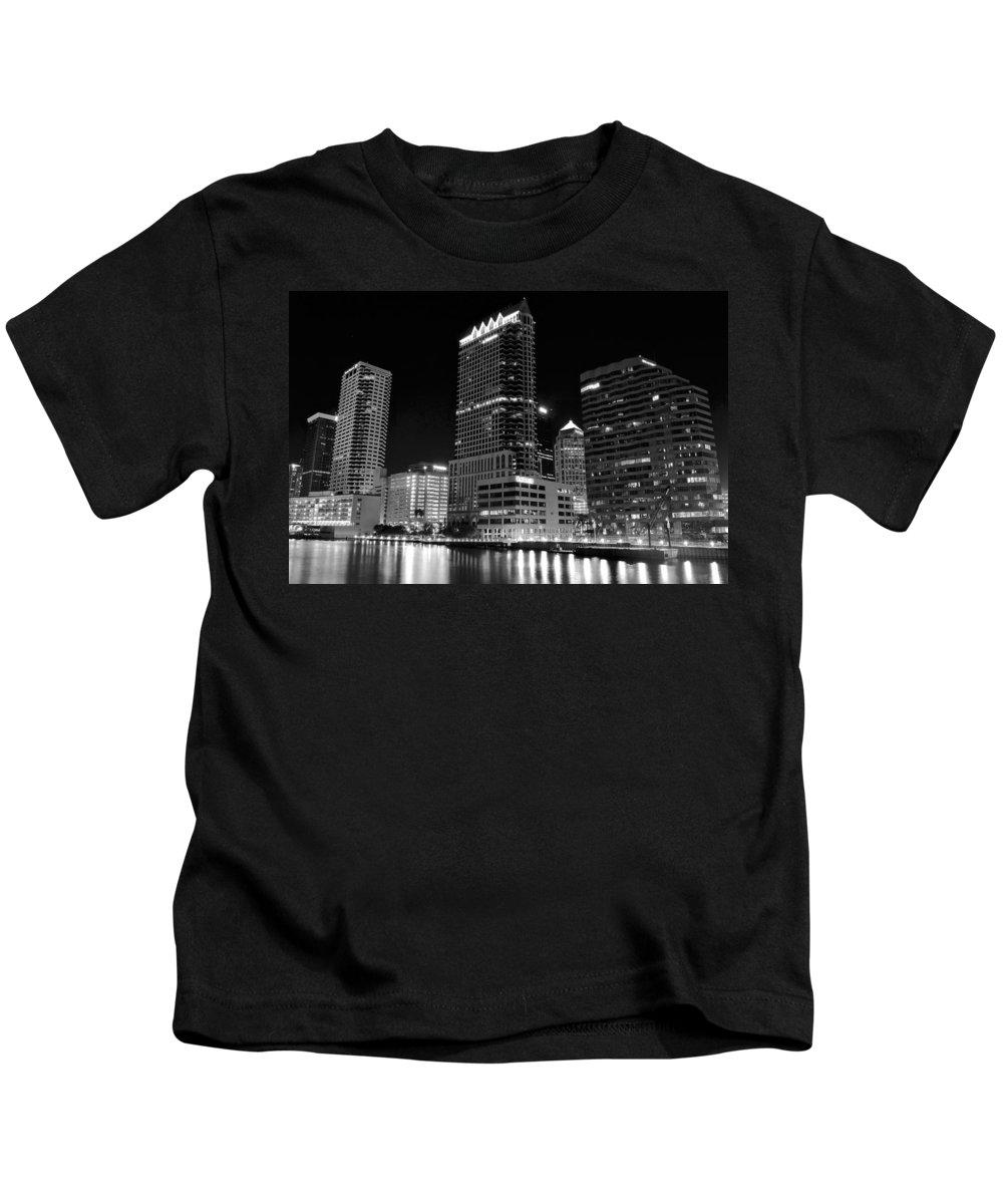 Tampa Kids T-Shirt featuring the photograph Tampa Black And White by Frozen in Time Fine Art Photography