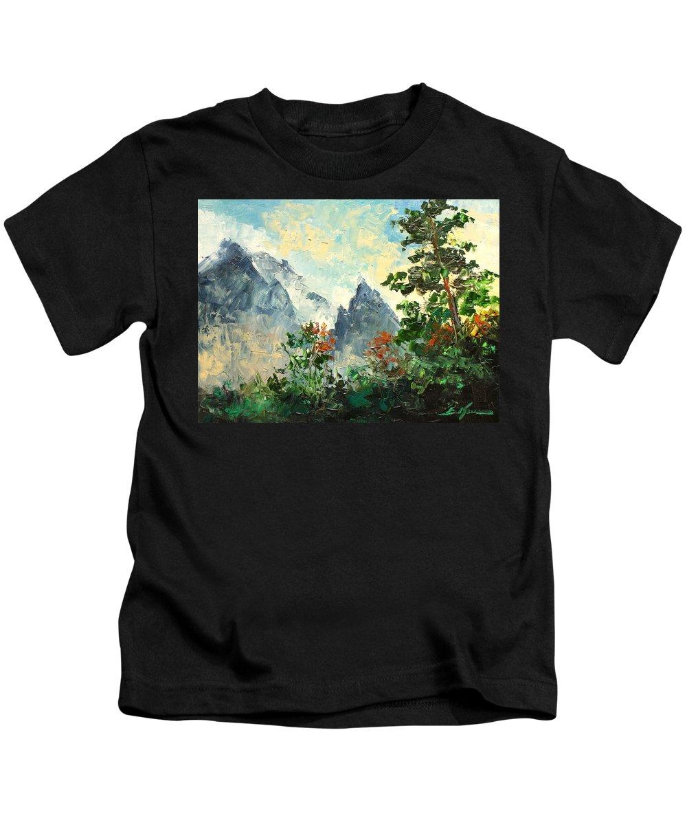 Mnich Peak Kids T-Shirt featuring the painting Tatry Mountains- Poland by Luke Karcz