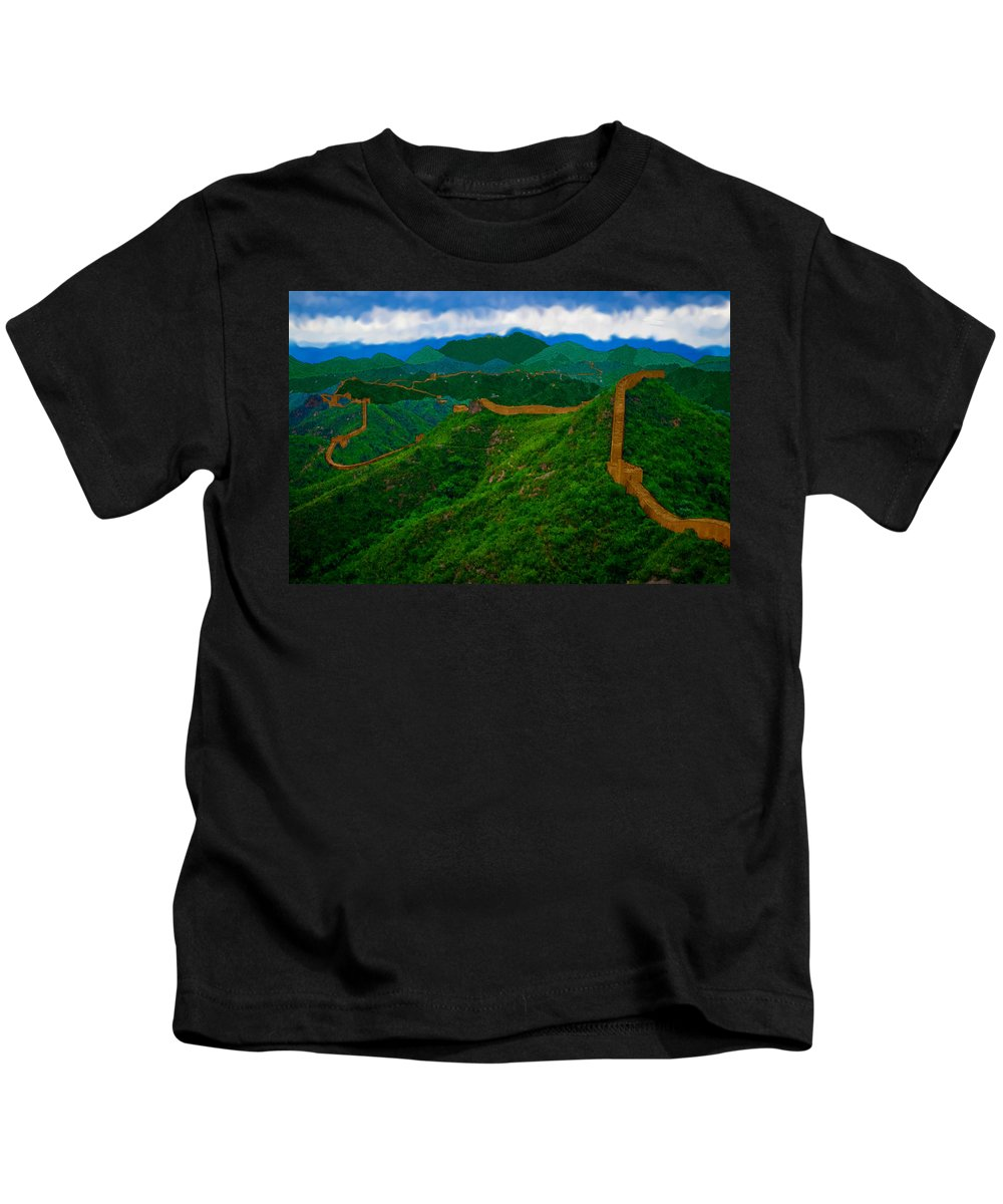 Forest Kids T-Shirt featuring the painting The Great Wall Of China by Bruce Nutting
