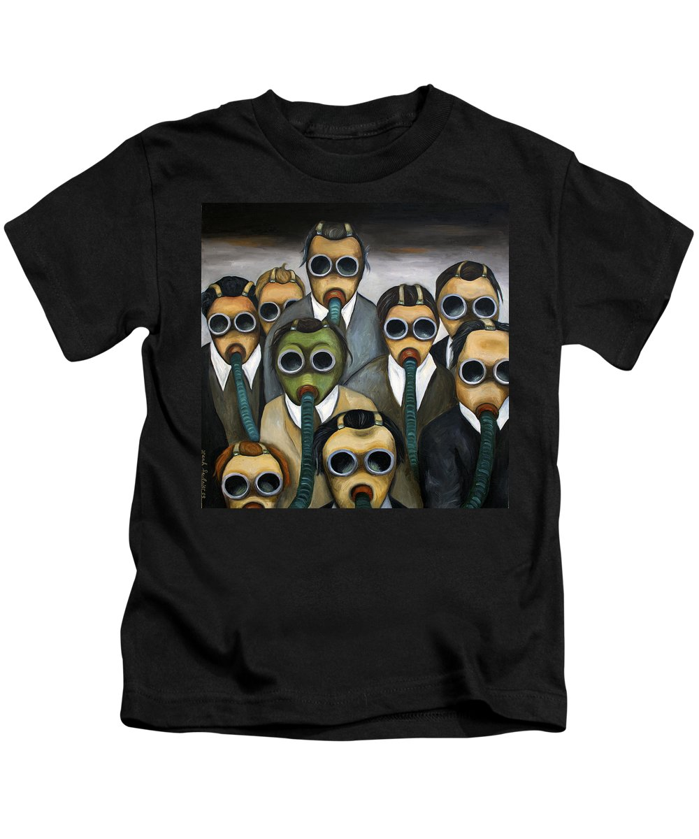 Gas Mask Kids T-Shirt featuring the painting The Meeting by Leah Saulnier The Painting Maniac