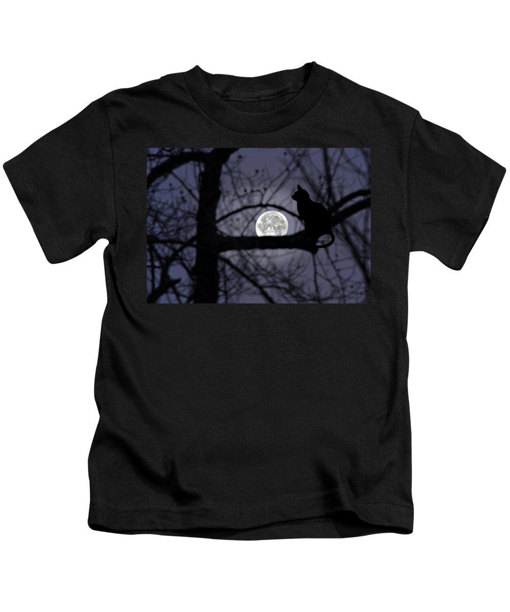 Animal Kids T-Shirt featuring the photograph The Moon Watcher by Susan Leggett
