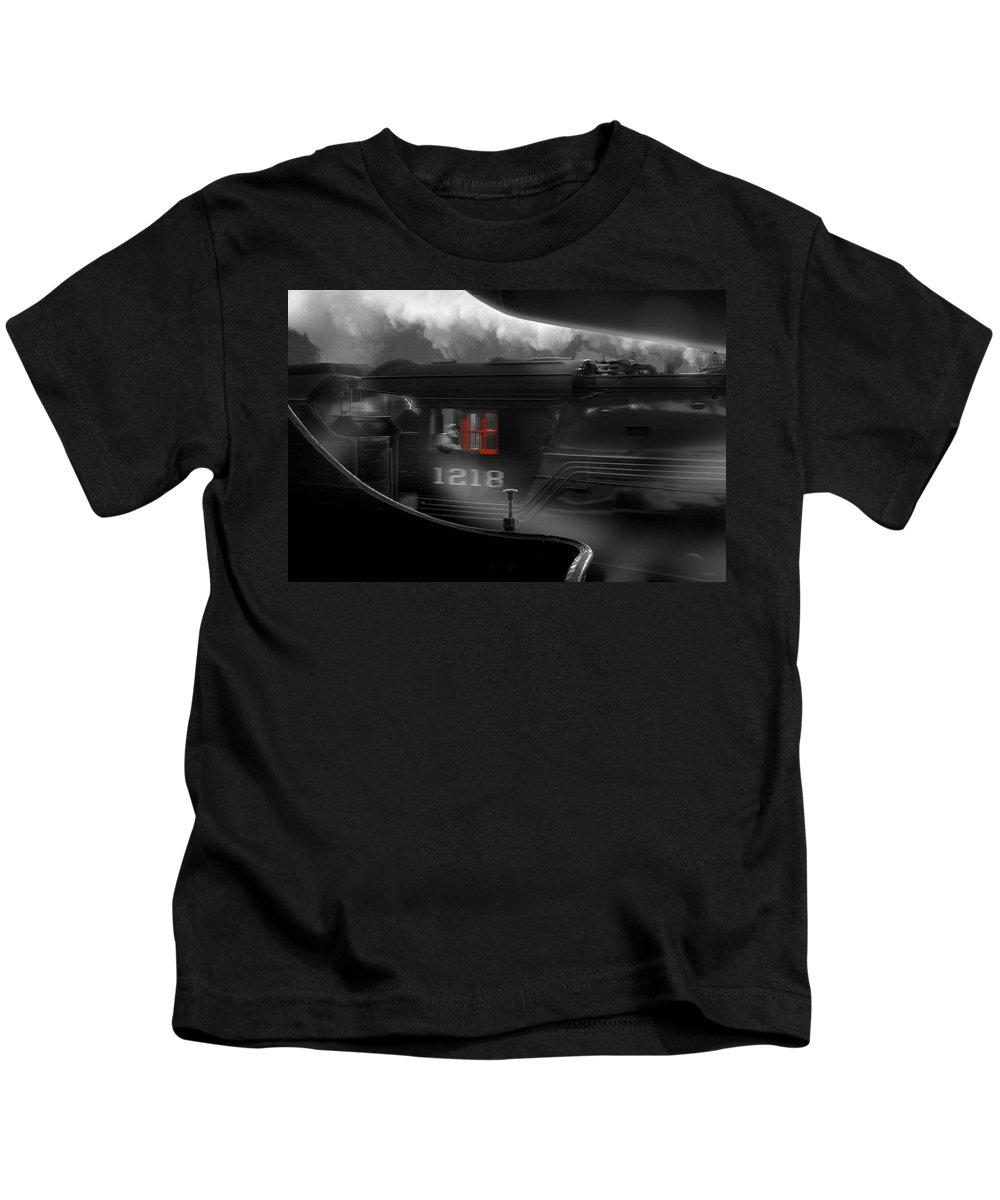 Transportation Kids T-Shirt featuring the photograph The Race by Mike McGlothlen