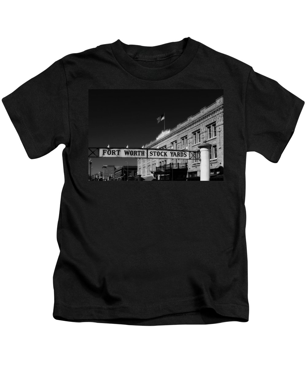 Fort Worth Kids T-Shirt featuring the photograph The Stock Yards Of Fort Worth by Mountain Dreams