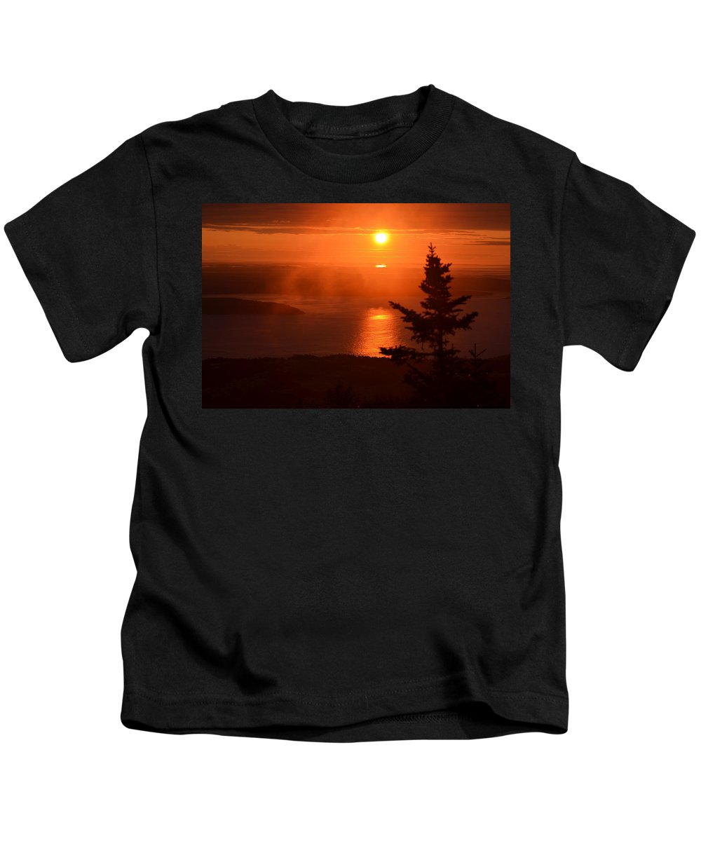 Mount Desert Island Kids T-Shirt featuring the photograph The Sunrise From Cadillac Mountain In Acadia National Park by Toby McGuire