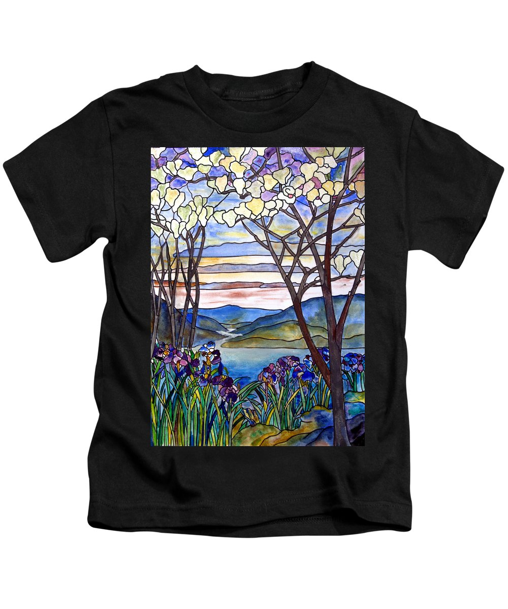 Stained Glass Paintings Kids T-Shirt featuring the painting Stained Glass Tiffany Frank Memorial Window by Donna Walsh