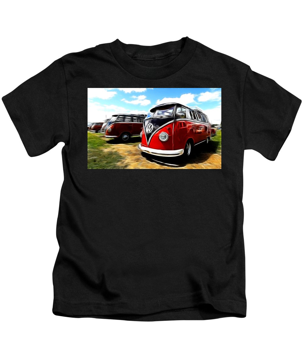 Vw Kids T-Shirt featuring the photograph Vw Micro Bus by Steve McKinzie