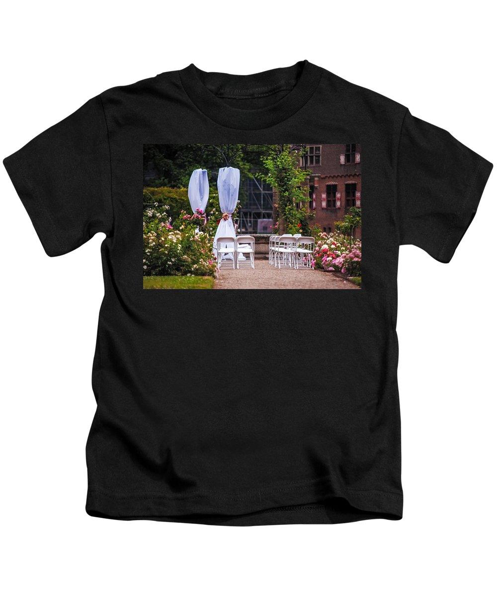 Utrecht Kids T-Shirt featuring the photograph Wedding Arrangement In De Haar Castle. Utrecht by Jenny Rainbow