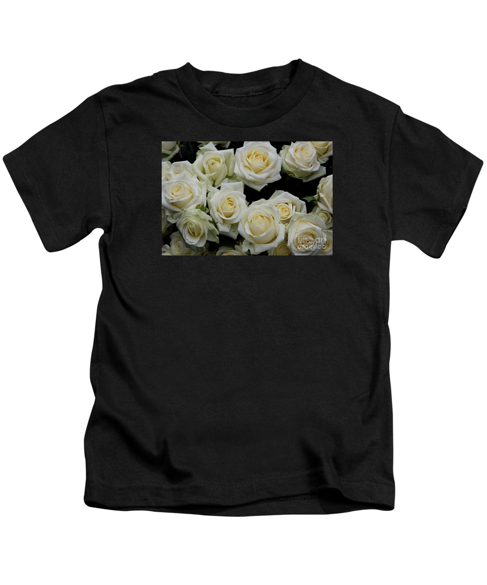 White Roses Kids T-Shirt featuring the photograph White Roses by Christiane Schulze Art And Photography