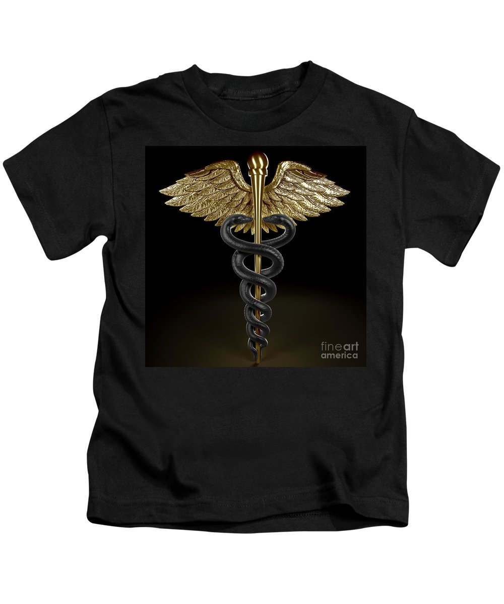 Medical Symbol Kids T-Shirt featuring the photograph Caduceus by Science Picture Co