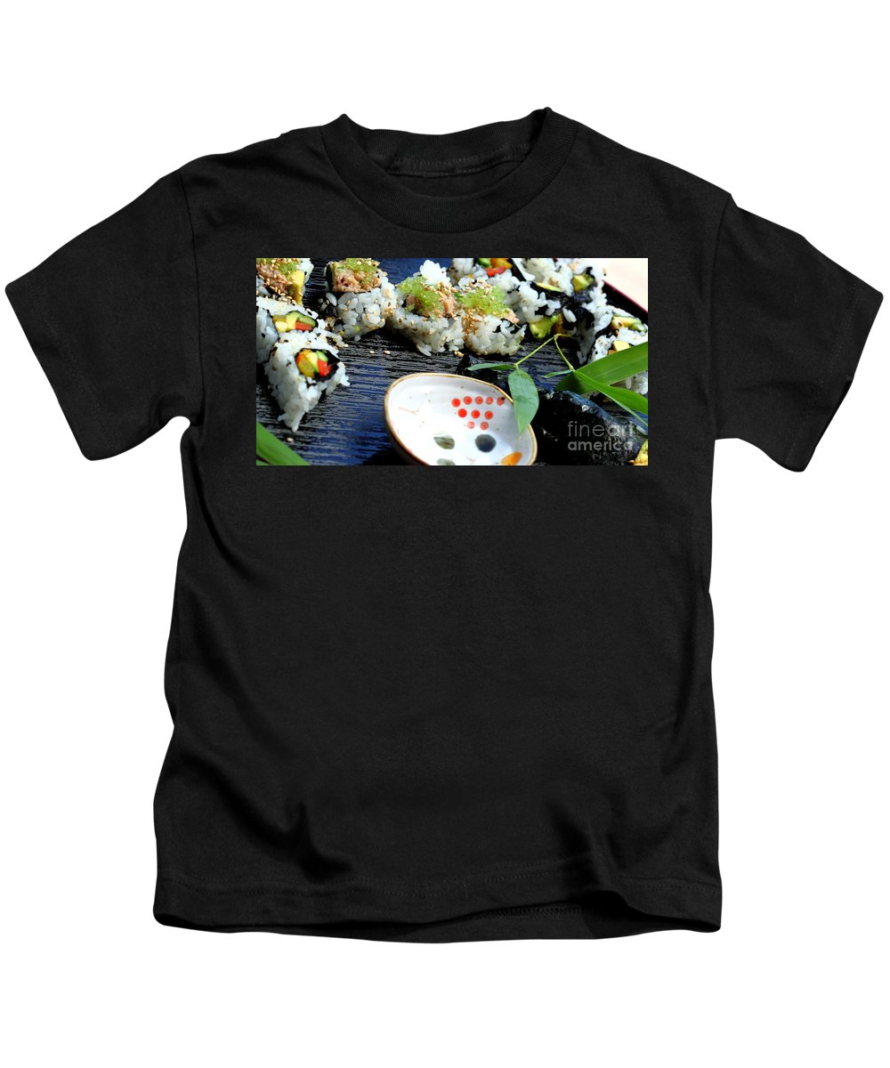 Food Kids T-Shirt featuring the photograph Sushi California Roll by Henrik Lehnerer