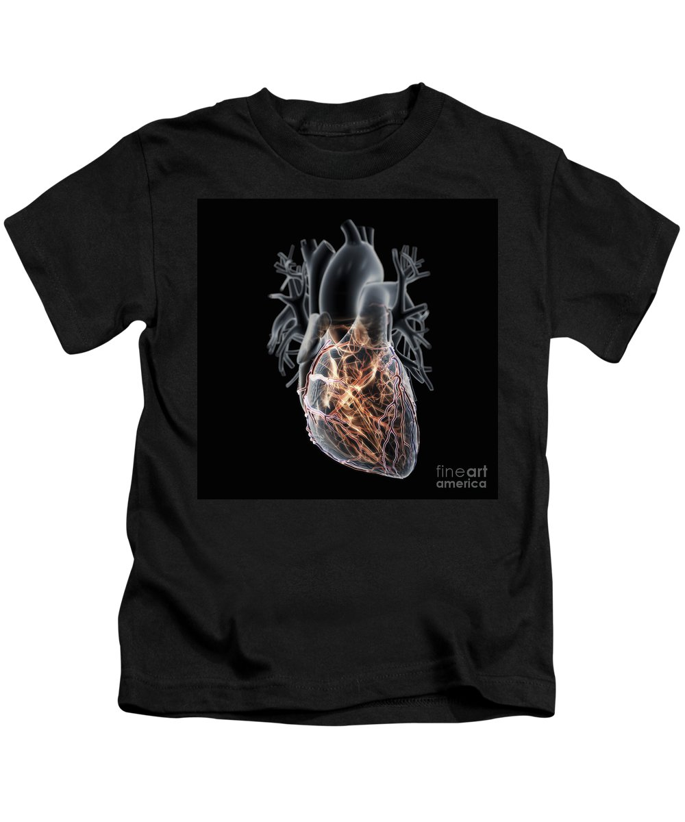 3d Visualisation Kids T-Shirt featuring the photograph Coronary Blood Supply by Science Picture Co