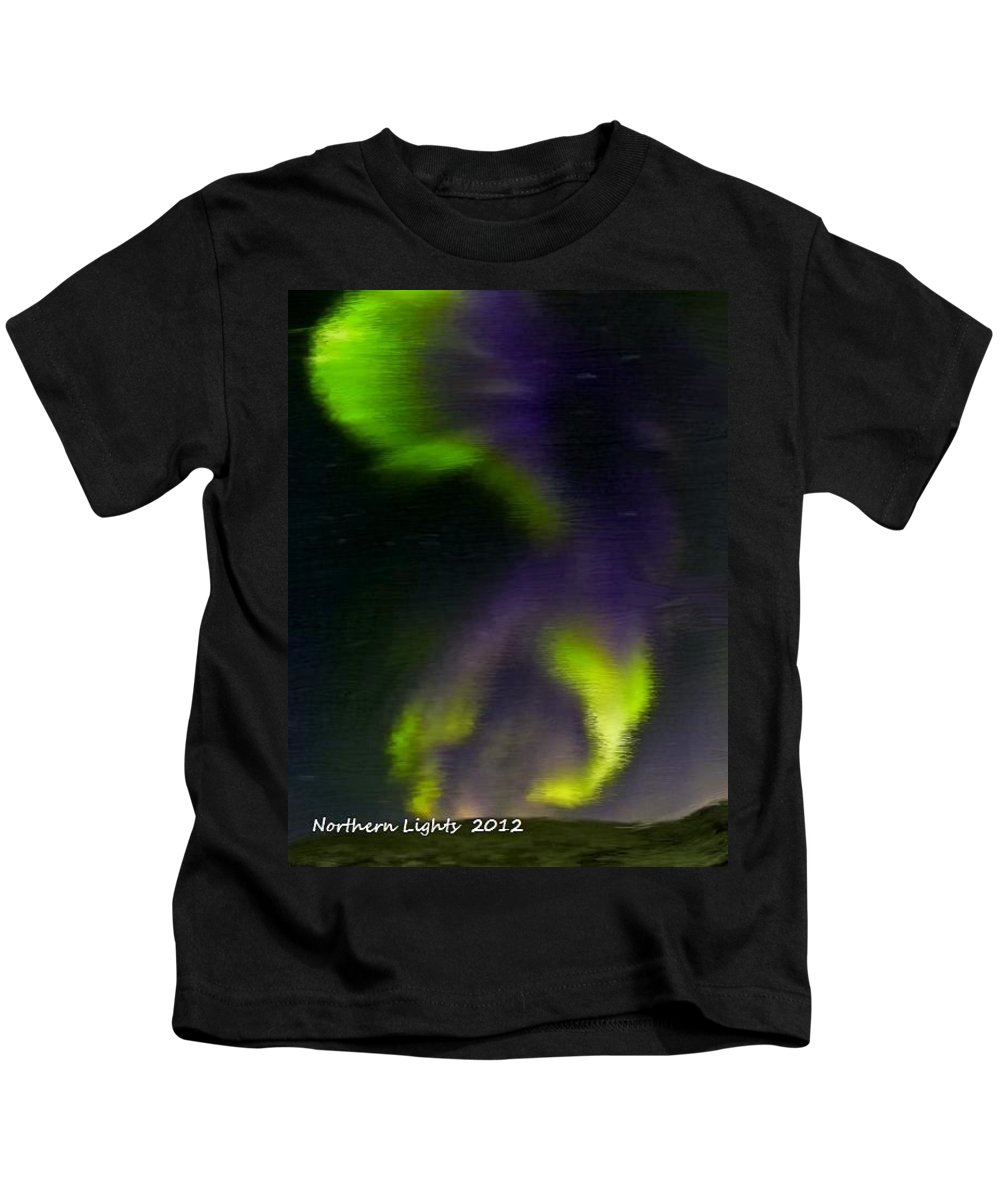 Northern Lights Kids T-Shirt featuring the painting Northern Lights by Bruce Nutting