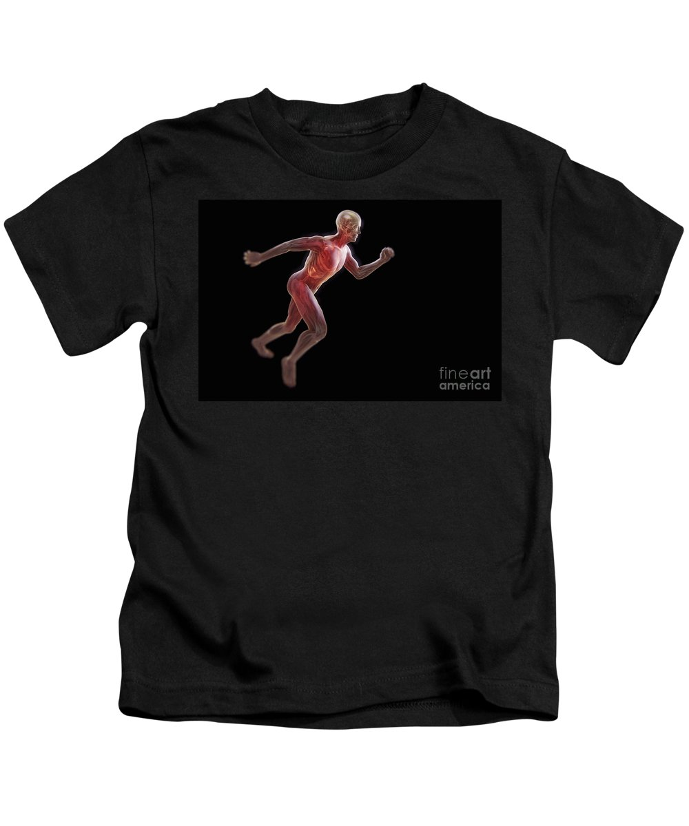 Transparent Kids T-Shirt featuring the photograph Running Male Figure by Science Picture Co