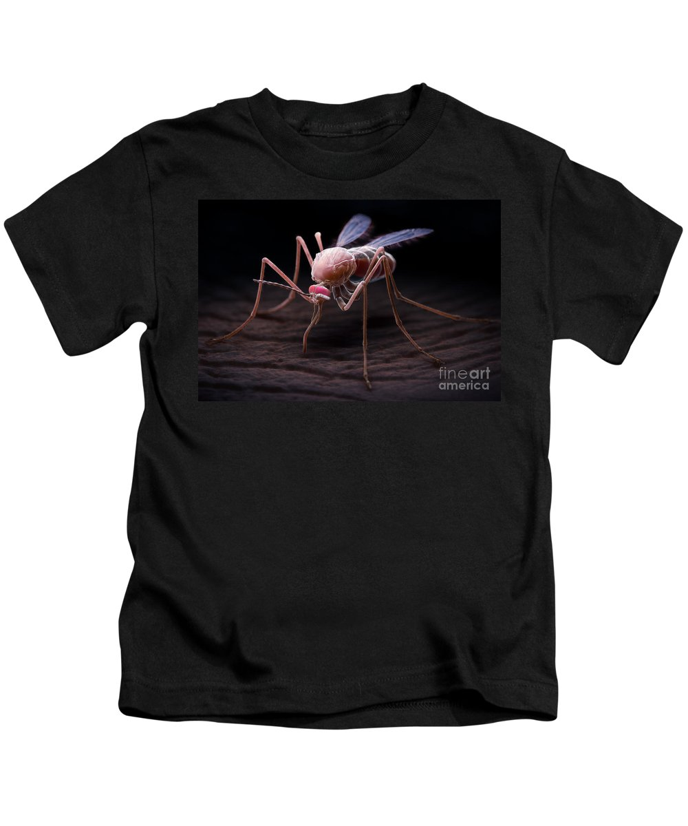 3d Visualisation Kids T-Shirt featuring the photograph Anopheles Mosquito by Science Picture Co