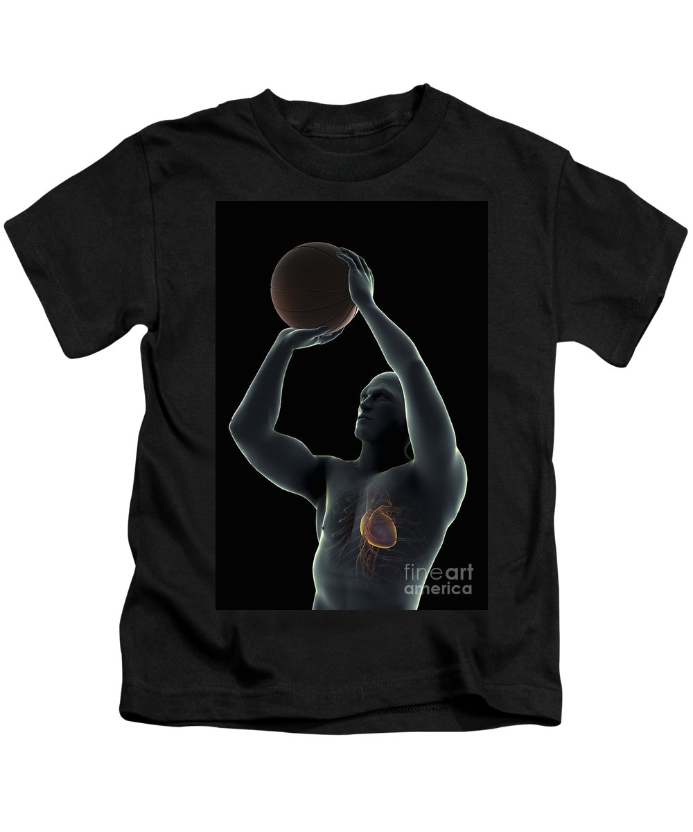 3d Visualisation Kids T-Shirt featuring the photograph Basketball Shot by Science Picture Co