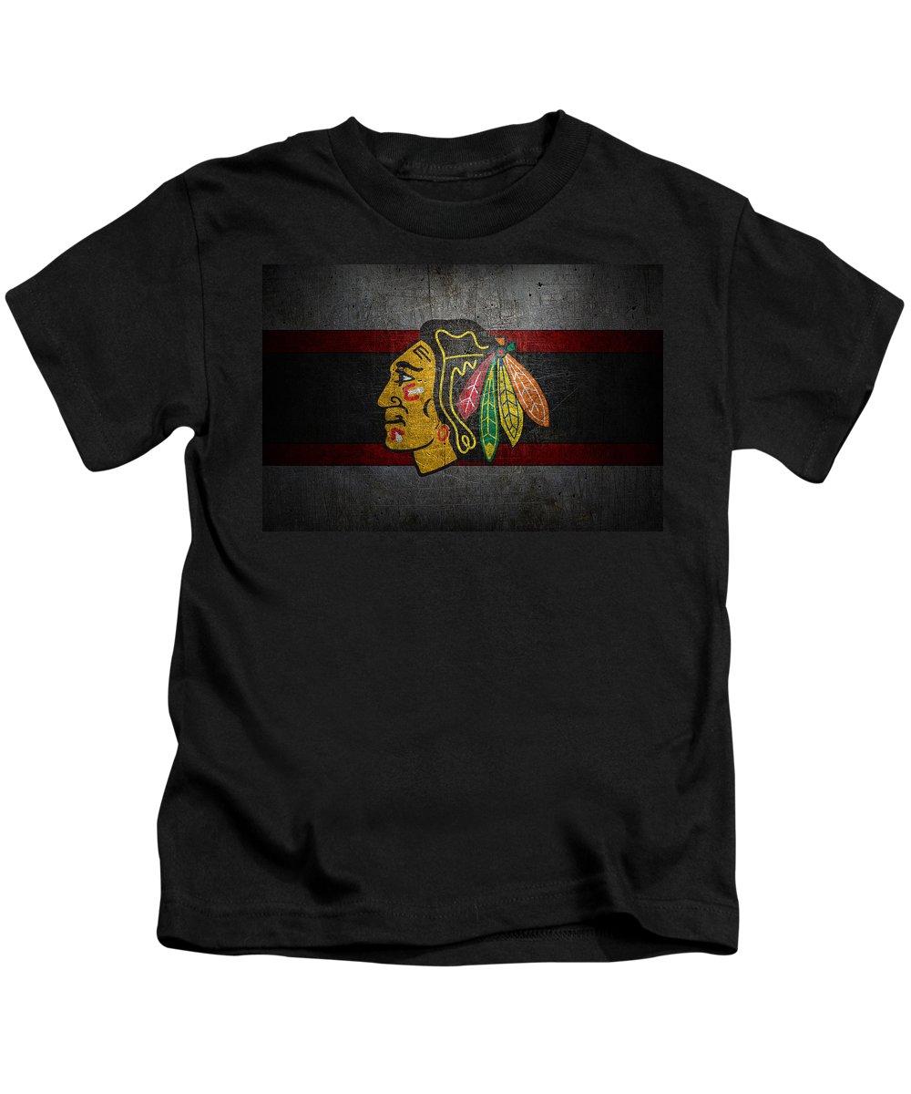 Blackhawks Kids T-Shirt featuring the photograph Chicago Blackhawks by Joe Hamilton
