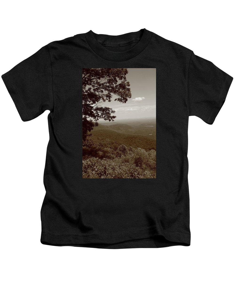 America Kids T-Shirt featuring the photograph Blue Ridge Mountains - Virginia Sepia 9 by Frank Romeo