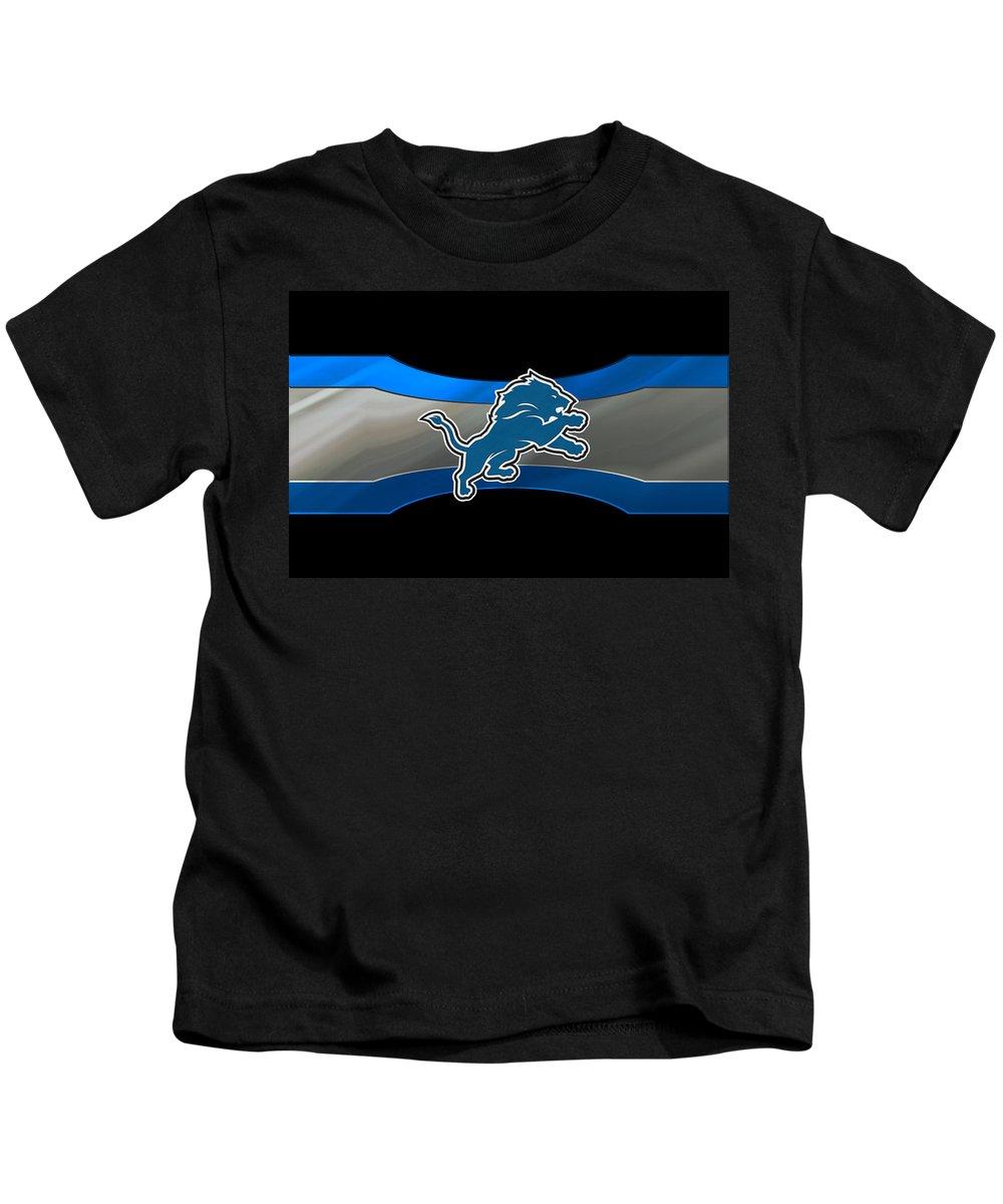 Lions Kids T-Shirt featuring the photograph Detroit Lions by Joe Hamilton