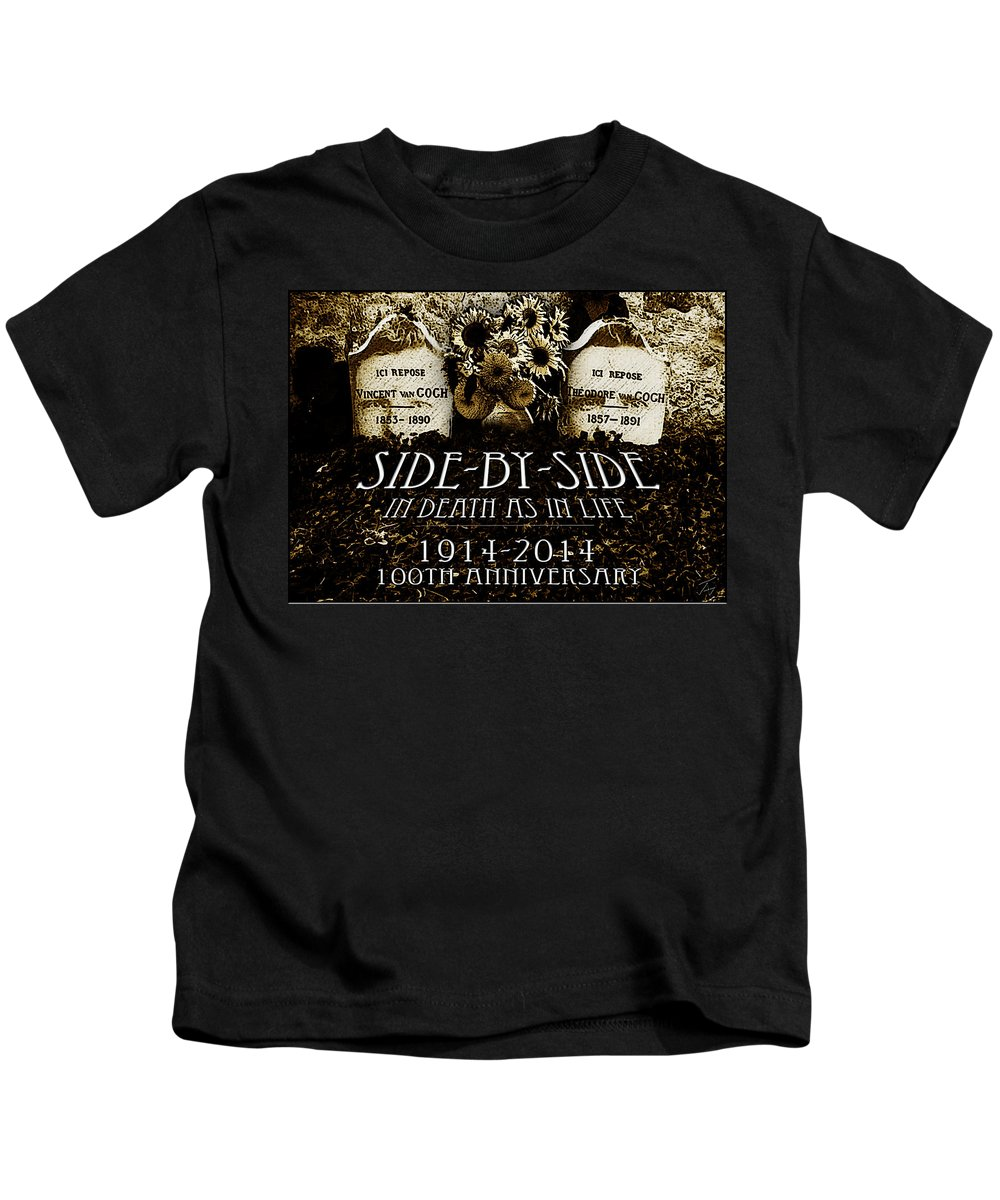 1914 - 2014 Side By Side - In Death As In Life Kids T-Shirt featuring the drawing 1914 - 2014 Side By Side - In Death As In Life by Jose A Gonzalez Jr