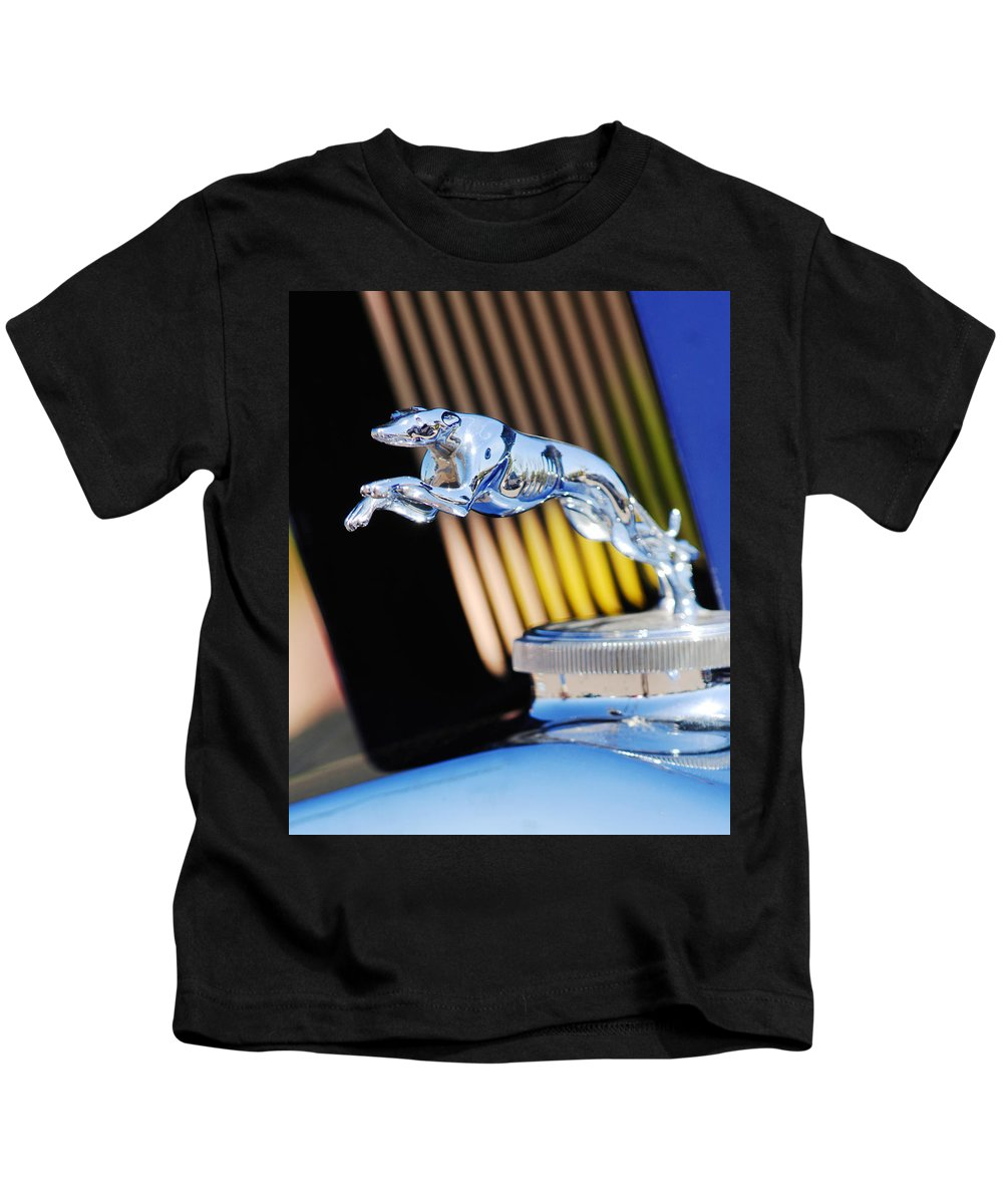 1930 Lincoln L Judkins Berline Hood Ornament Kids T-Shirt featuring the photograph 1930 Lincoln L Judkins Berline Hood Ornament by Jill Reger