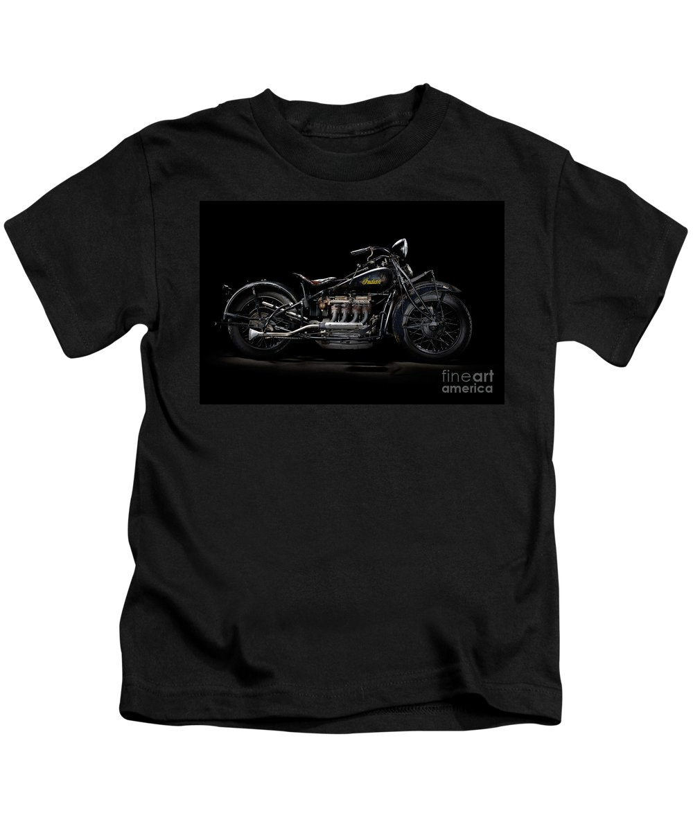 Motorcycle Kids T-Shirt featuring the photograph 1933 Indian Four by Frank Kletschkus