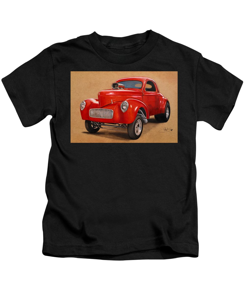Willys Kids T-Shirt featuring the drawing 1941 Willys Gasser Coupe Drawing by John Harding
