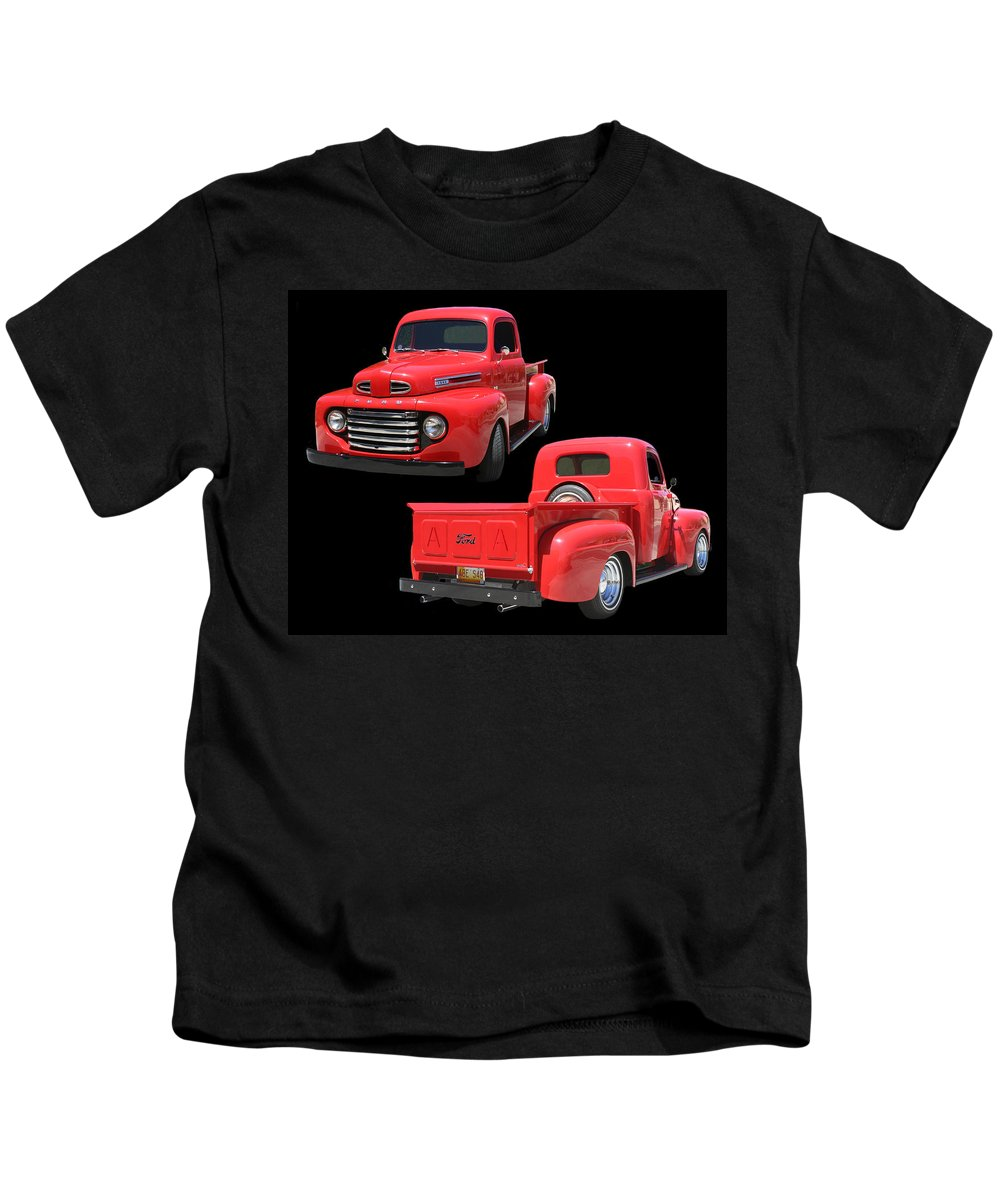 Framed Photos Of Great American Pick-up Trucks. Photos Of American Transportation Of The 40's. Enhanced Photography Kids T-Shirt featuring the photograph 1948 Custom Ford F-100 Pick Up by Jack Pumphrey