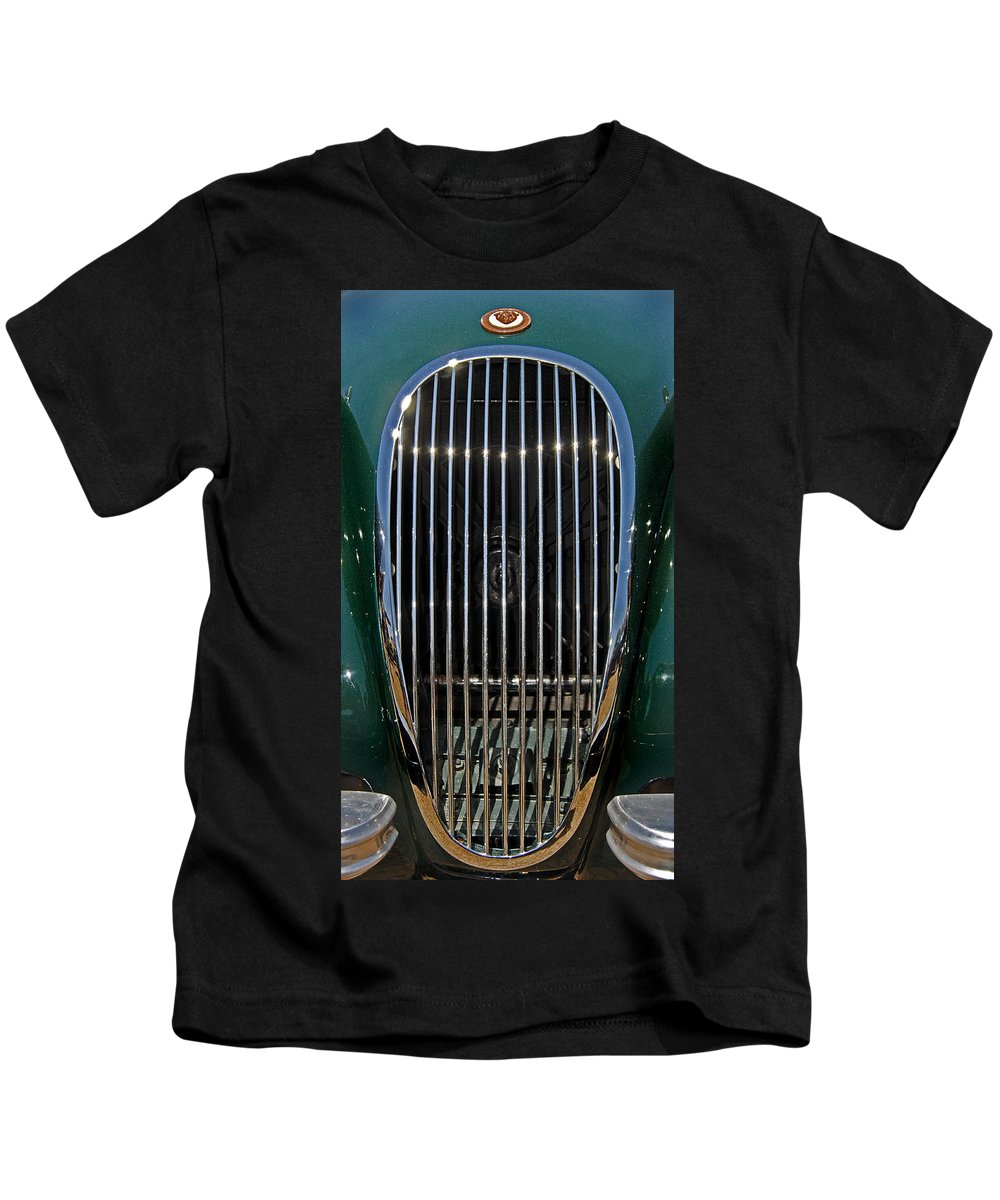 Car Kids T-Shirt featuring the photograph 1952 Jag Xk120 by Skip Willits