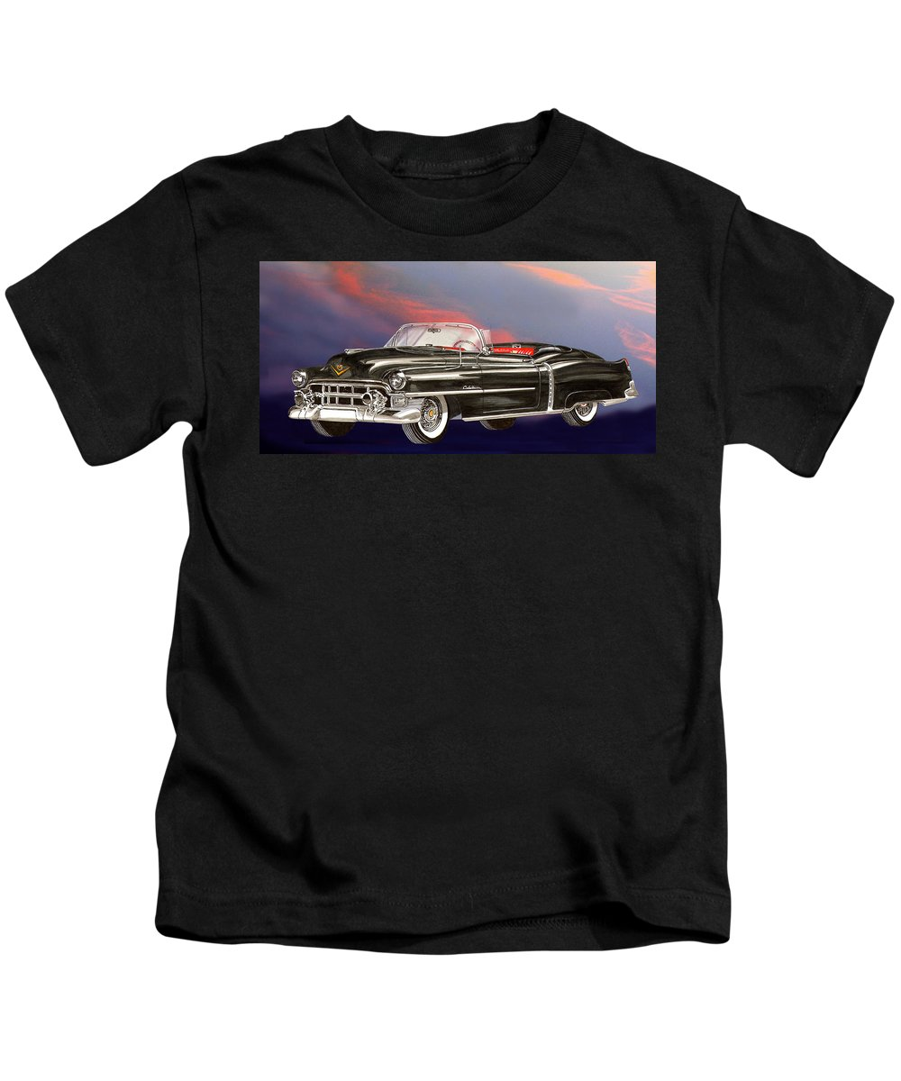 Jclassic Car Paintings Kids T-Shirt featuring the painting 1953 Cadillac El Dorardo Convertible by Jack Pumphrey