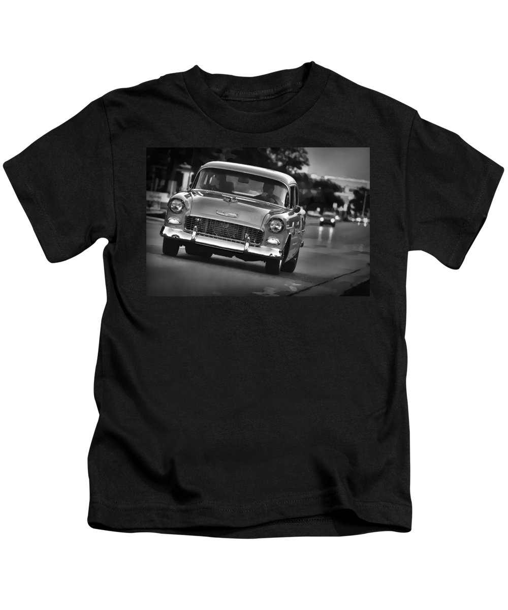 1955 Kids T-Shirt featuring the digital art 1955 Chevy Bel Air by Gordon Dean II