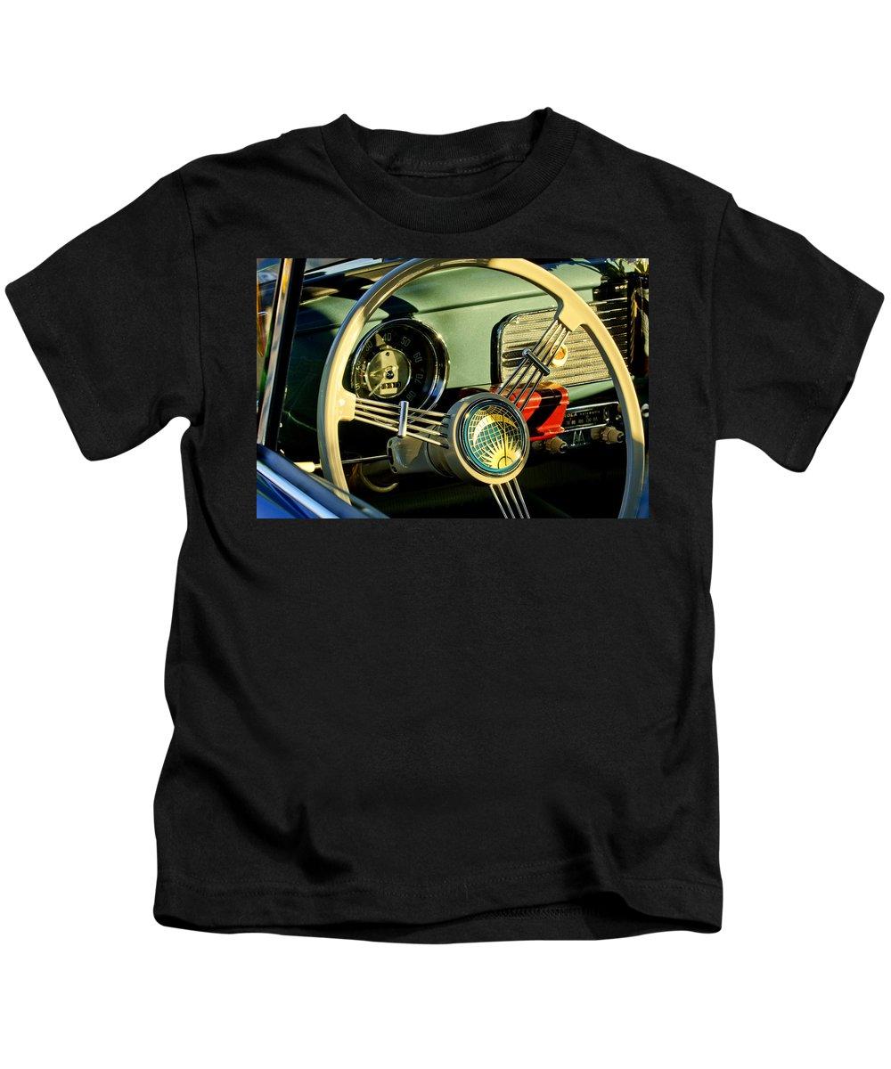1956 Volkswagen Vw Bug Kids T-Shirt featuring the photograph 1956 Volkswagen Vw Bug Steering Wheel 2 by Jill Reger