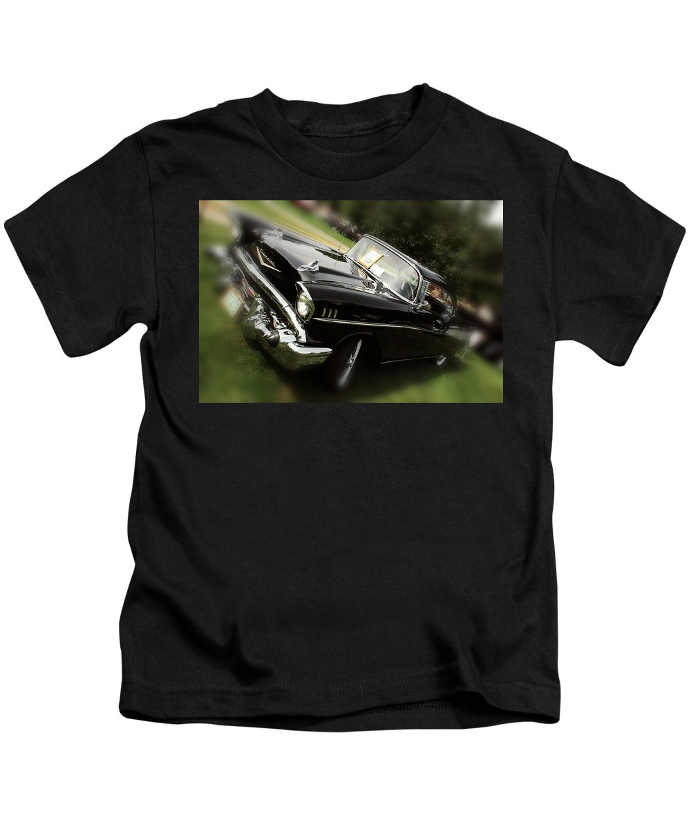 Black Chevy Kids T-Shirt featuring the photograph 1957 Chevrolet by Sherman Perry