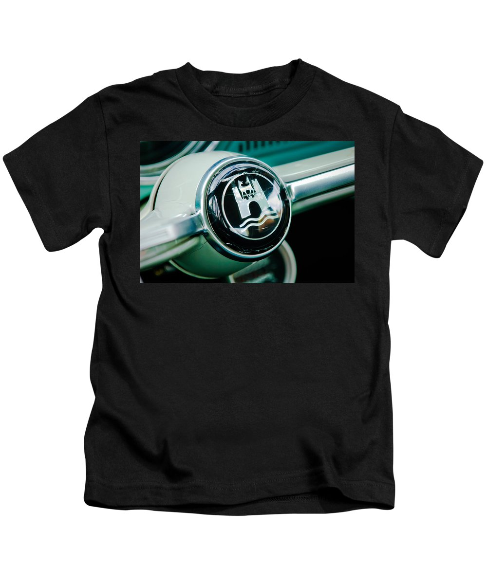 1964 Volkswagen Kids T-Shirt featuring the photograph 1964 Volkswagen Vw Steering Wheel by Jill Reger