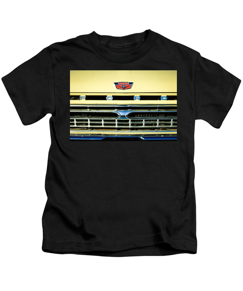 1966 Ford Pickup Truck Kids T-Shirt featuring the photograph 1966 Ford Pickup Truck Grille Emblem by Jill Reger