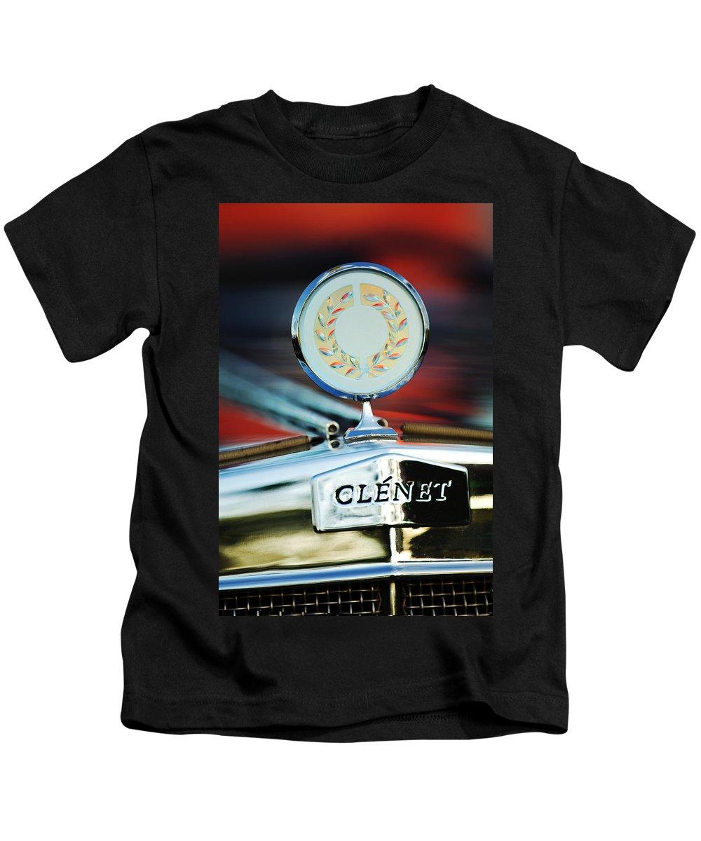 1979 Clenet Hood Ornament Kids T-Shirt featuring the photograph 1979 Clenet Hood Ornament -176c by Jill Reger
