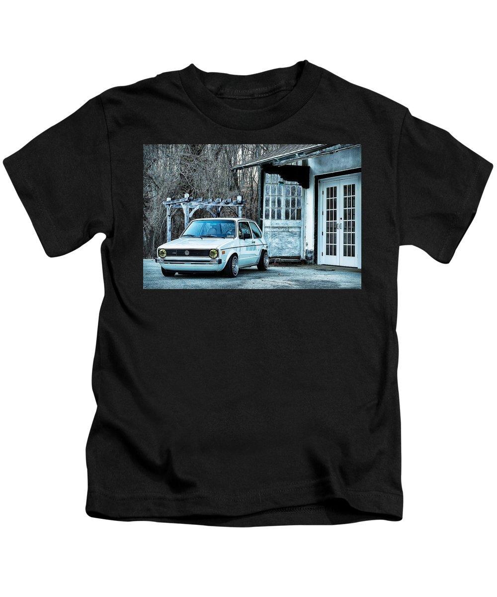 Vw Kids T-Shirt featuring the photograph 1979 Vw Rabbit II by Scott Wyatt