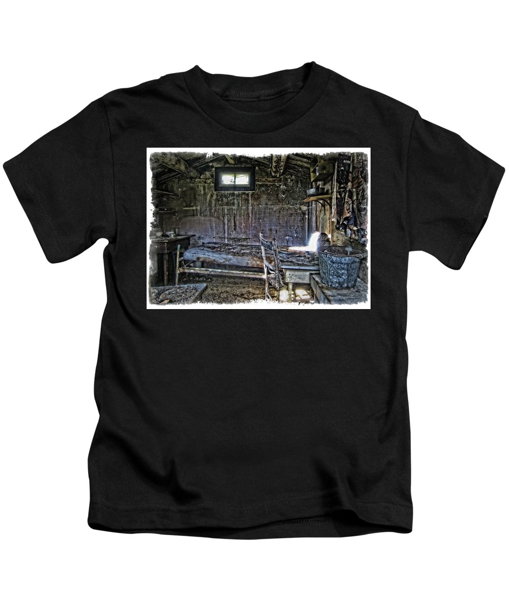 Montana Kids T-Shirt featuring the photograph 19th Century Miner's Cabin - Montana by Daniel Hagerman