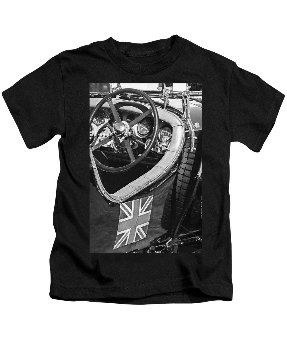 1931 Bentley 4.5 Liter Supercharged Le Mans Steering Wheel Kids T-Shirt featuring the photograph 1931 Bentley 4.5 Liter Supercharged Le Mans Steering Wheel -1255bw by Jill Reger
