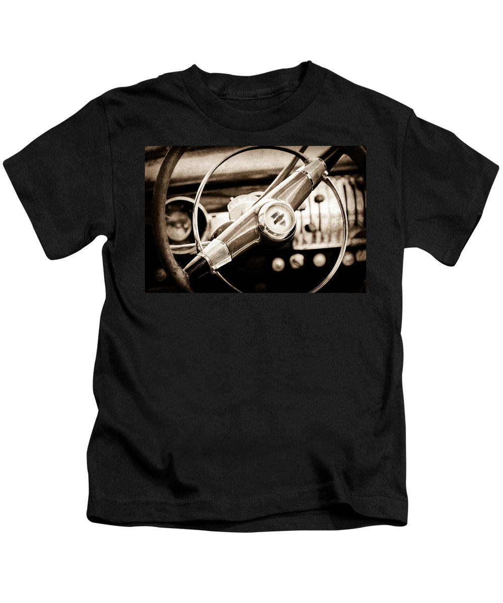 1951 Chevrolet Convertible Steering Wheel Kids T-Shirt featuring the photograph 1951 Chevrolet Convertible Steering Wheel by Jill Reger