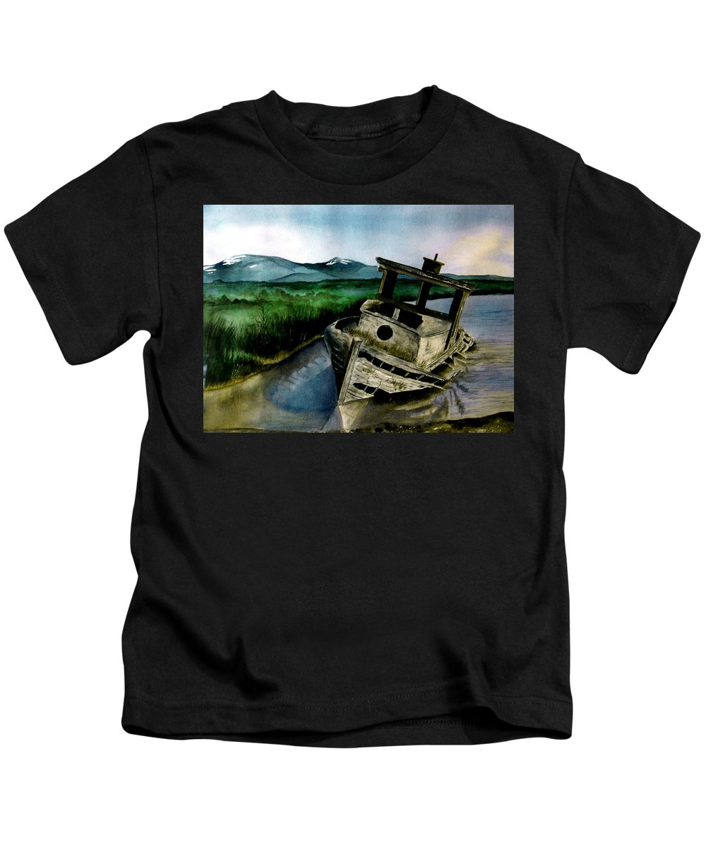 Watercolor Kids T-Shirt featuring the painting Abandoned by Brenda Owen