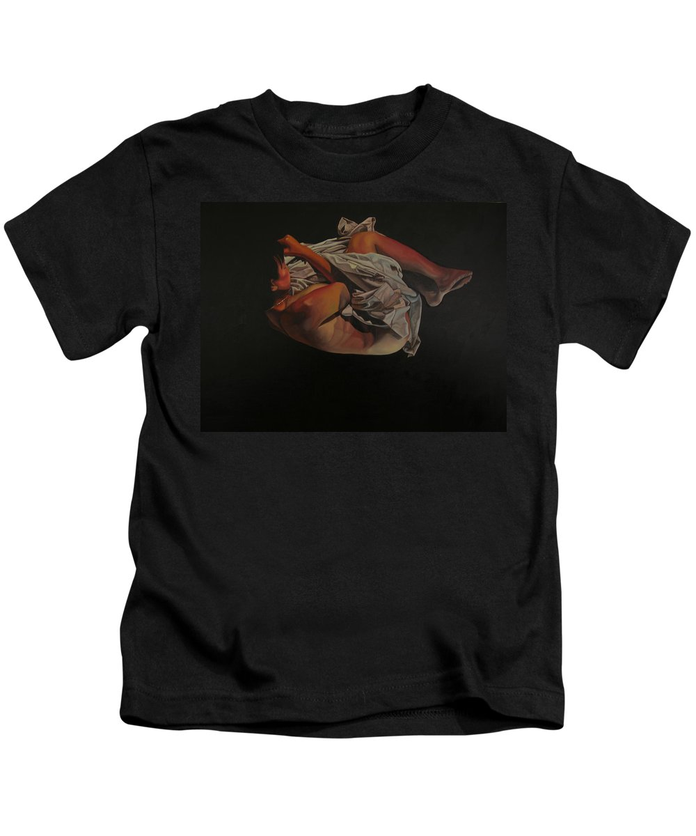 Semi_nude Kids T-Shirt featuring the painting 2 Am by Thu Nguyen