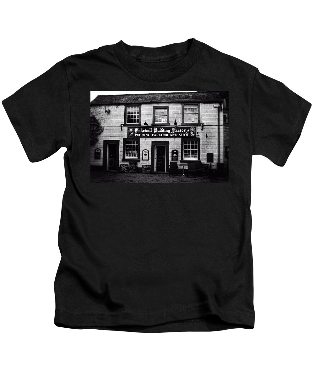 Bakewell Kids T-Shirt featuring the photograph Bakewell Pudding Factory In The Peak District - England by Doc Braham