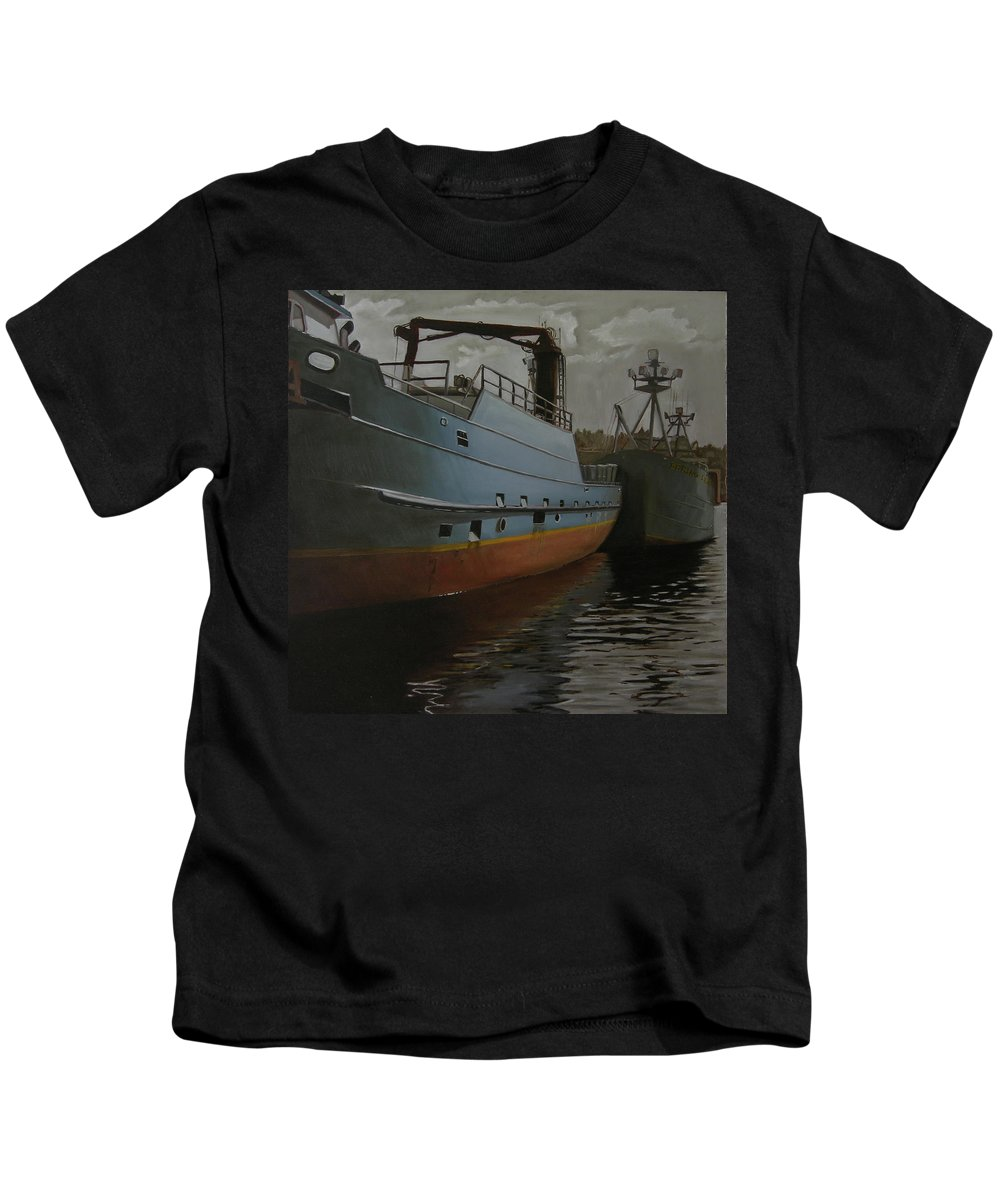 Ships Kids T-Shirt featuring the painting Bering Sea by Thu Nguyen