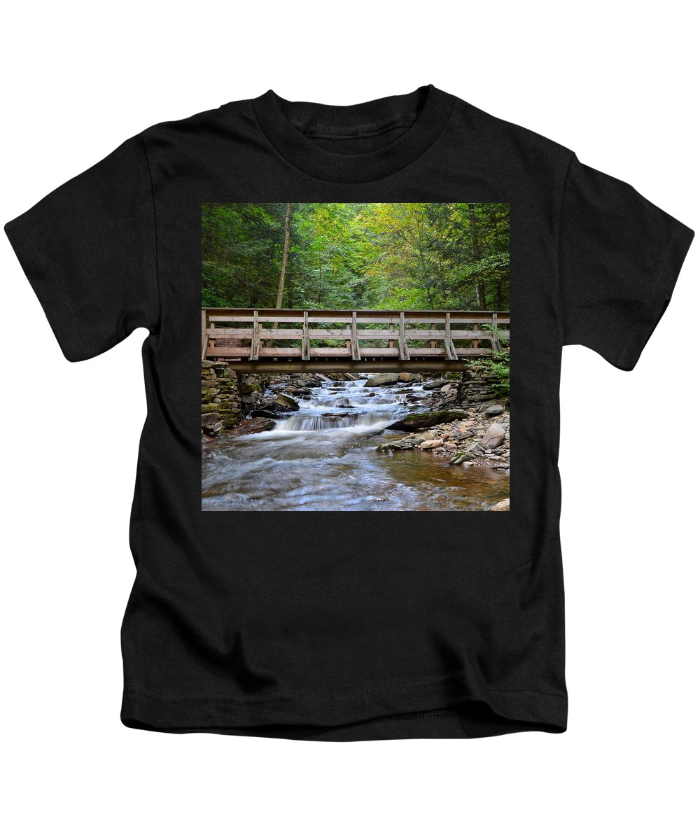 Bridge Kids T-Shirt featuring the photograph Bridge To Paradise by Frozen in Time Fine Art Photography