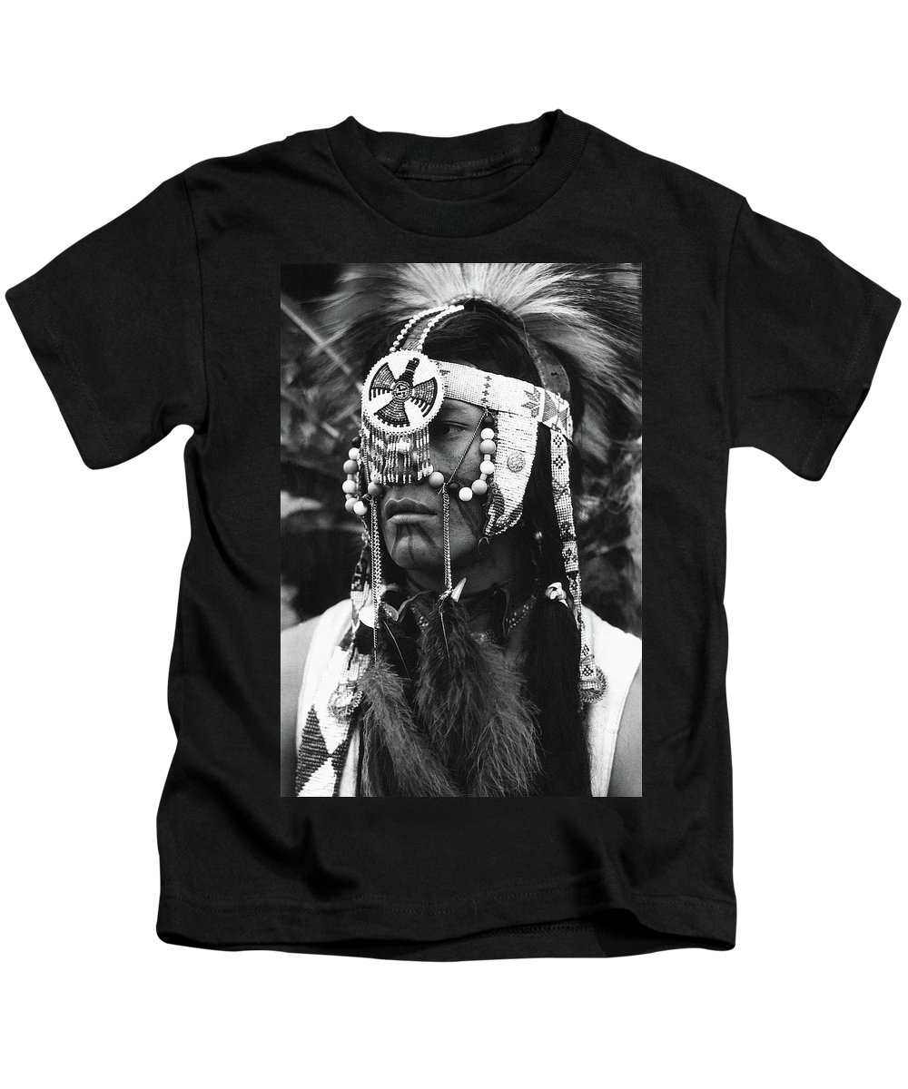 Crow Native American Traditional Dress Rodeo Gallup New Mexico 1969 Kids T-Shirt featuring the photograph Crow Native American Traditional Dress Rodeo Gallup New Mexico 1969 by David Lee Guss