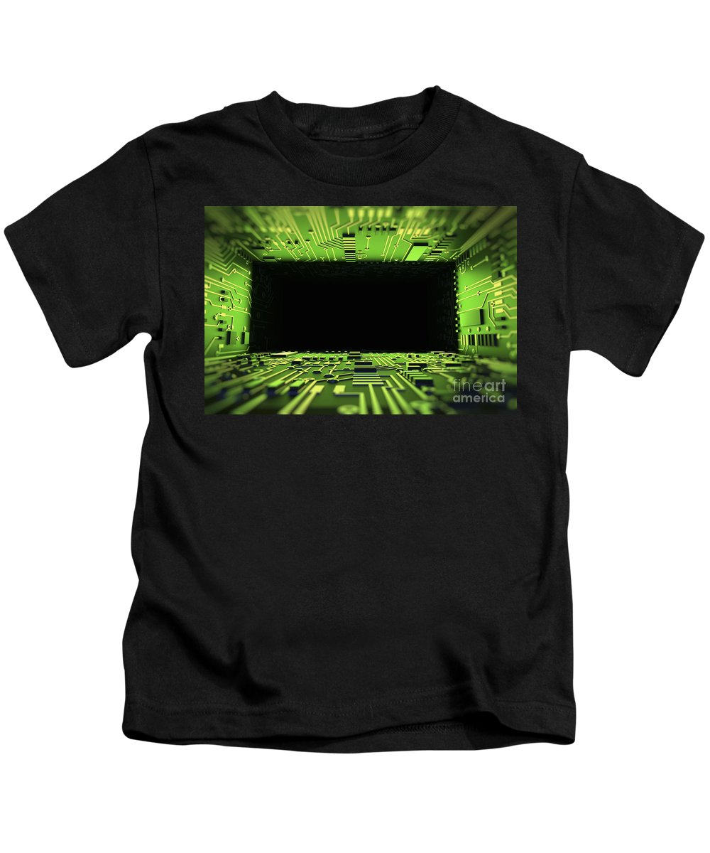 Information Transfer Kids T-Shirt featuring the photograph Digital Tunnel by Science Picture Co