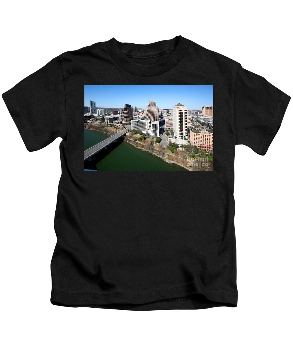 360 Condominiums Kids T-Shirt featuring the photograph Downtown Austin by Bill Cobb
