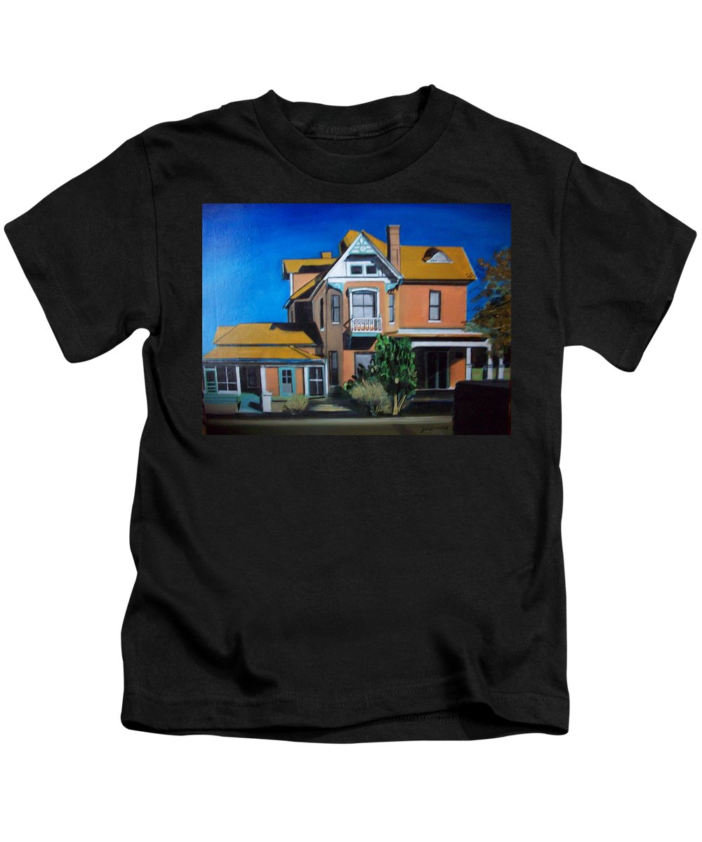 Kids T-Shirt featuring the painting Dwelling by Jude Darrien
