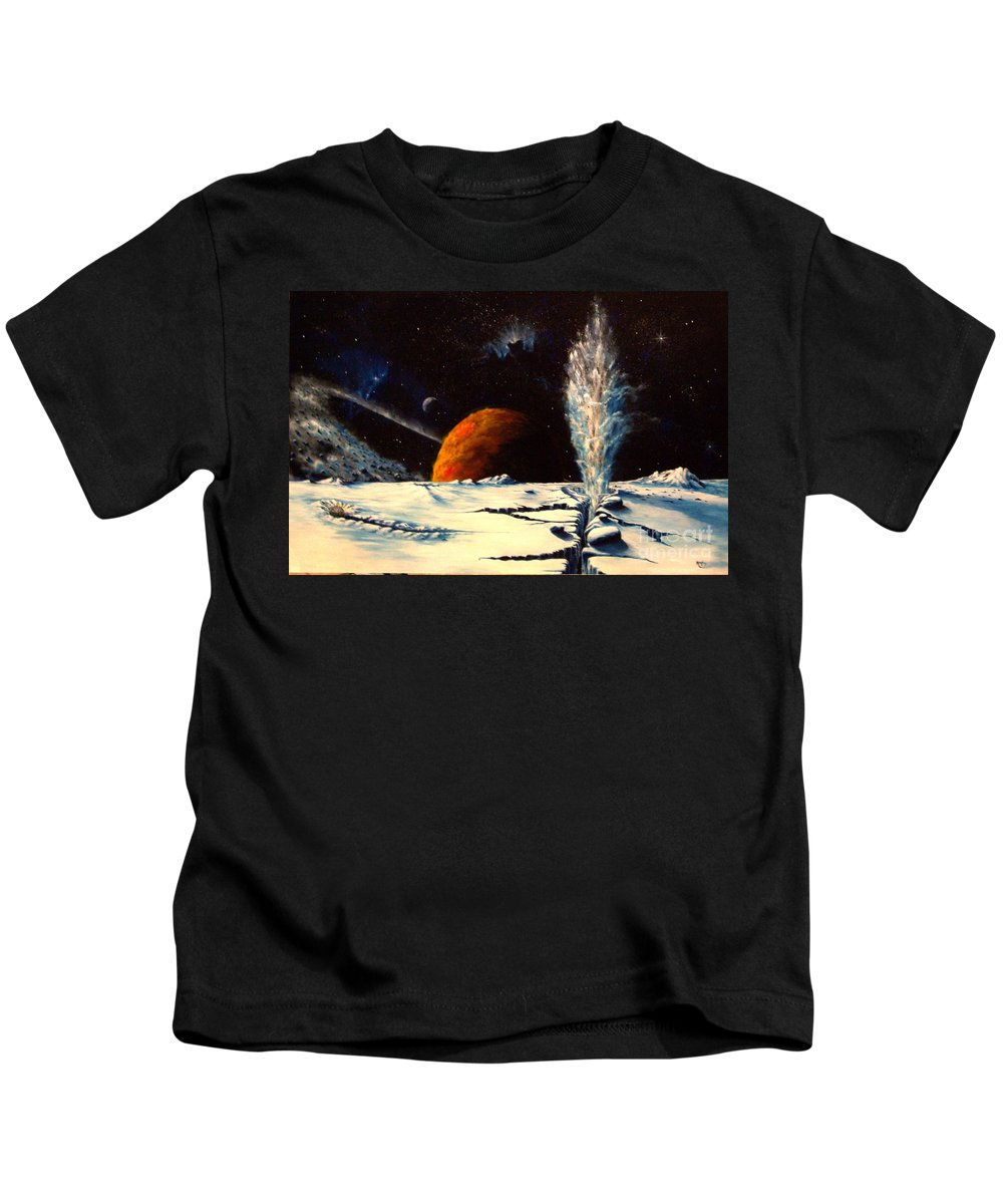 Landscape. Geyser Kids T-Shirt featuring the painting Frozen Geyser by Murphy Elliott